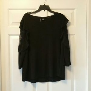 New Directions Black Blouse w/ Lace Detail Size Xl